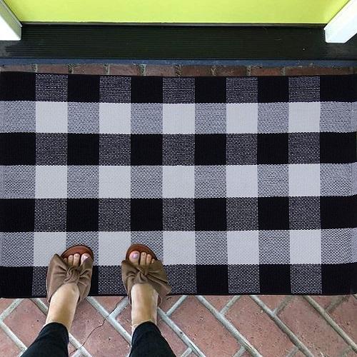 JTL Floorings Cotton Checkered Outdoor Rug Welcome Mat